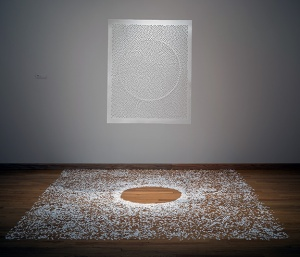 """Solace, Jaq Belcher. 108"""" x 108."""" Hand cut paper suspended, 12,000 paper seeds."""